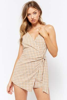 Forever 21 Gingham Wrap-Front Romper