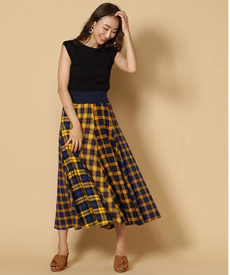 And Couture (アンド クチュール) - アンドクチュール 【TGC着用】チェックコンビネーションロングスカート