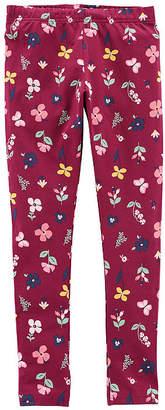 Carter's Psg Maroon Floral Legging Knit Leggings Girls