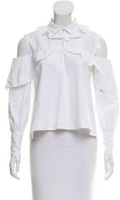 Jonathan Simkhai Cold-Shoulder Poplin Top