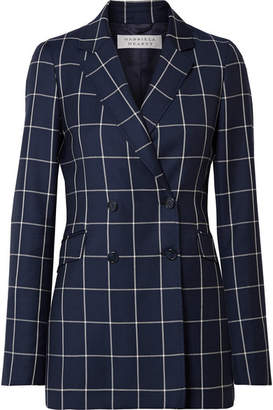 Gabriela Hearst - Miles Double-breasted Checked Wool-crepe Blazer - Midnight blue