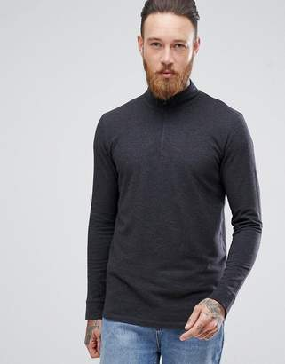 Selected High Neck Long Sleeve Pique Top With Zip