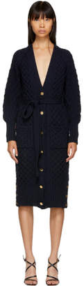 Thom Browne Navy Tweed Aran Cable Long Cardigan
