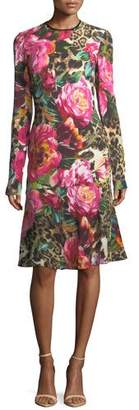 Naeem Khan Long-Sleeve Floral & Leopard Print Dress, Black/Pink