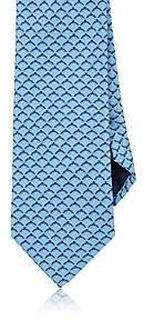 Barneys New York MEN'S INTERLOCKING-RING-PRINT SILK NECKTIE-LT. BLUE