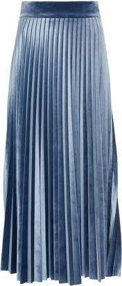Luisa Beccaria Pleated Velvet-Trimmed Crepe de Chine Midi Skirt