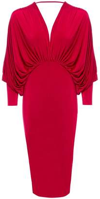 Sarvin - Lea Red Plunge Batwing Midi Dress