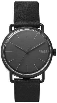 Skagen Falster Automatic Leather Strap Watch, 40mm