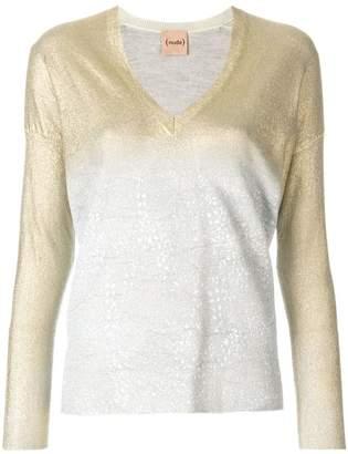 Nude metallic V-neck pullover