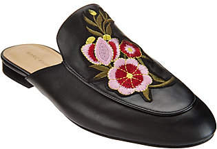 Marc Fisher Embroidered Leather Mules -Wrangler