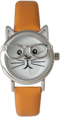 OLIVIA PRATT Olivia Pratt Womens Silver-Tone Ears And Glasses White Cat Face Print Dial Orange Faux Leather Strap Watch 15097