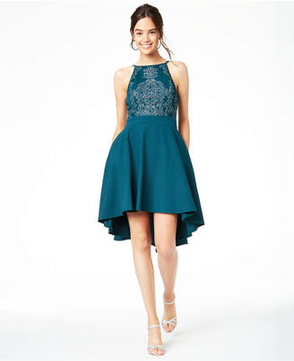Speechless Juniors' Beaded High-Low Fit & Flare Dress