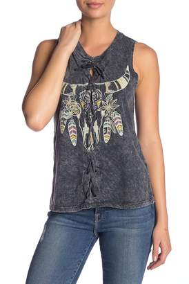 Vintage Havana Graphic Lace-Up Muscle Tank