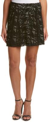 Haute Hippie Paisley Lasercut Suede A-Line Skirt