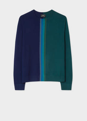 Paul Smith Men's Navy And Green Merino-Wool Sweater With Central Stripe