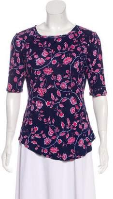Rebecca Taylor Linen Floral Print T-Shirt
