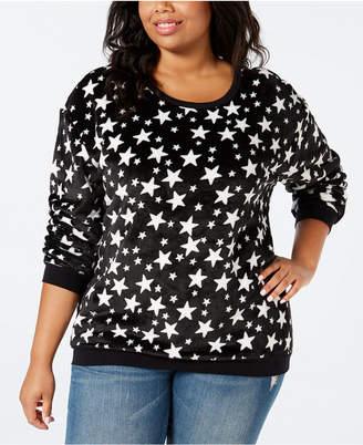 Love Tribe Trendy Plus Size Star-Print Fuzzy Sweatshirt