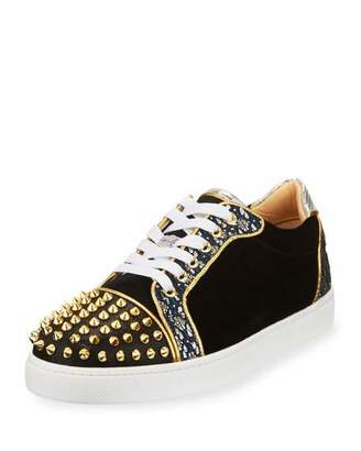 Christian Louboutin Vieira Spikes Lace-Up Low-Top Sneaker