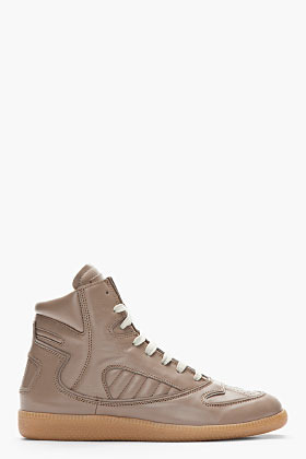 Maison Martin Margiela Taupe Leather High Top Sneakers
