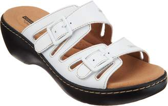 Clarks Leather Lightweight Adjustable Slides - Delana Liri