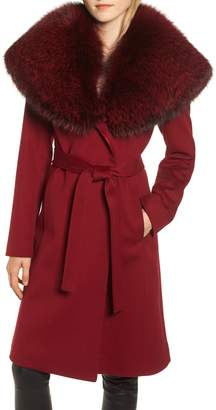 Fleurette Loro Piana Wool Coat with Genuine Fox Fur Trim