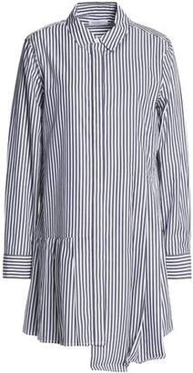 Equipment Asymmetric Striped Cotton-Poplin Mini Shirt Dress