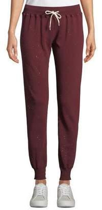 Monrow Cuffed Drawstring Sweatpants with Foil-Print Splatter