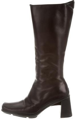 pradaPrada Leather Square-Toe Boots