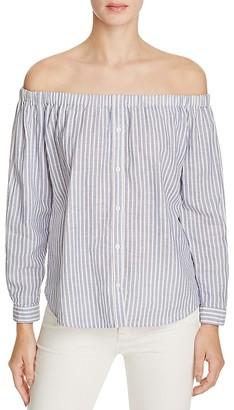 Birds of Paradis Off-The-Shoulder Stripe Shirt - 100% Exclusive $150 thestylecure.com