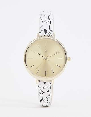 Asos DESIGN watch with abstract face print in white