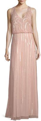 Adrianna Papell Beaded Floor-Length Blouson Dress