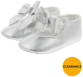 Monsoon Baby Girls Oversized Bow Bootie - Silver