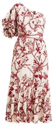 Johanna Ortiz Perfume De Gardenias Embroidered Cotton Midi Dress - Womens - Red White