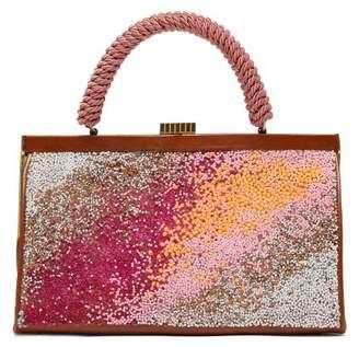 Germanier - Bead Embellished Leather Bag - Womens - Pink Multi