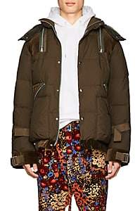 Sacai Men's Velvet-Trimmed Down-Quilted Puffer Jacket - Olive