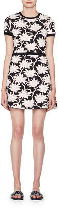 Valentino Crewneck Short-Sleeve Jacquard Knit Dress