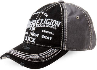 True Religion Distressed Embroidered Baseball Cap
