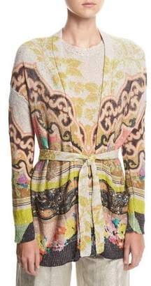 Etro Paisley Linen Tie-Waist Cardigan