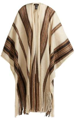Isabel Marant Striped Knit Mohair Blend Poncho - Womens - White