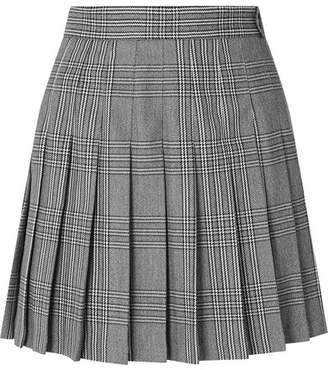 Maje Pleated Plaid Woven Mini Skirt - Gray