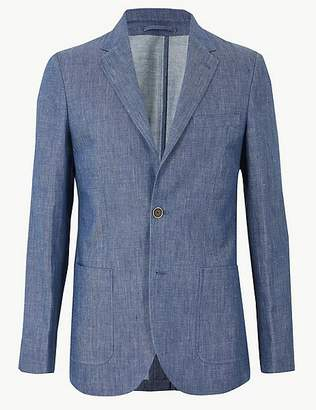 Marks and Spencer Indigo Tailored Fit Linen Miracle Jacket