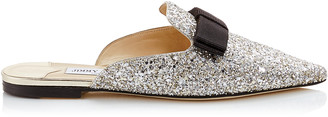 Jimmy Choo GALAXY FLAT Champagne Coarse Glitter Fabric Pointy Toe Mule with Bow