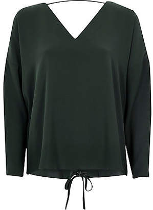 River Island Dark green long sleeve lace-up back top