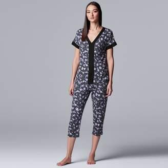 Vera Wang Women's Simply Vera Sleep Top & Capri Pajama Set
