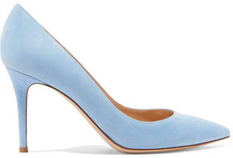 Gianvito Rossi 85 Suede Pumps - Sky blue
