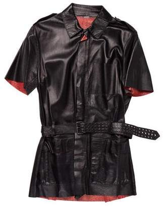 CNC Costume National Leather Belt-Accented Jacket