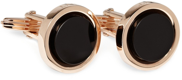 Lanvin Red Gold and Onyx Cufflinks