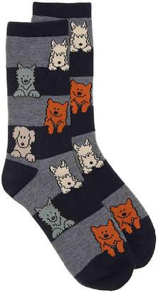 K. Bell Dog Stripe Crew Socks - Women's