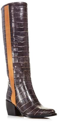 Chloé Women's Vinny Croc-Embossed Leather Tall Boots