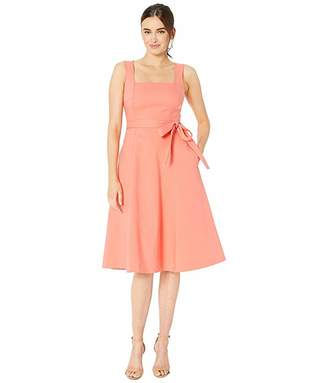 Calvin Klein Square Neck A-Line Dress W/ Self Tie Belt